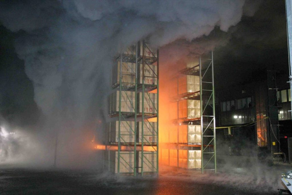 Figure 1. Fire test of DRR. Courtesy of FM Global.