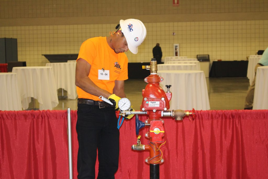 Devon Greene, employed by AFSA member Space Coast Fire & Safety, Inc., Merritt Island, Florida, was a Fire Sprinkler finalist at NCC.