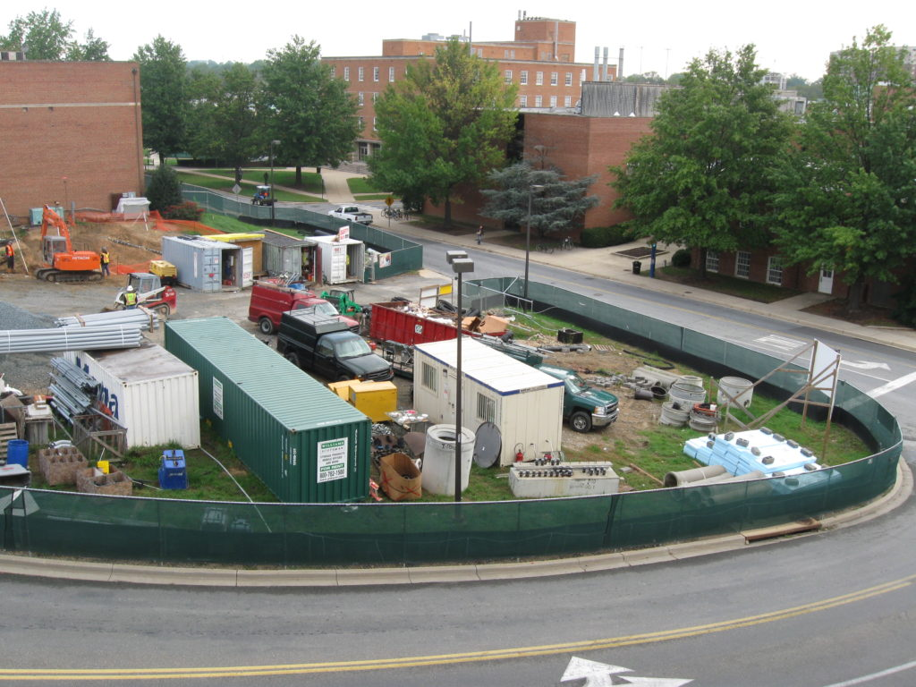 Figure 4. A construction site entrance showing good fire apparatus access and the trailers containing information on the building and site hazards. Photo by author.