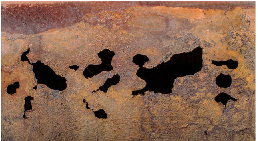 Figure 2. When corrosion occurs, it eats away at pipe in various places, creating holes.